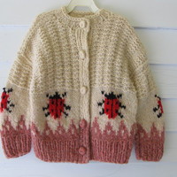 Vintage 80's 90's 5 to 6 Yr. Old  Child's Hand Knit Wool Sweater Ladybugs