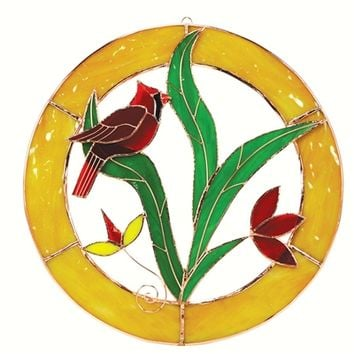 SheilaShrubs.com: Large Cardinal Circle Window Panel GE105 by Gift Essentials: Stained Glass