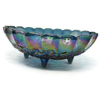 Carnival Glass Bowl in Lombardi Iridescent Flora Blue by Jeannette 4 Toed Footed Fruit Bowl
