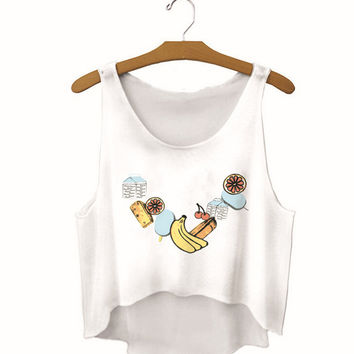 Womens Food Printed Show Hilum Tank Top Sports Vest Gift - 15