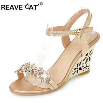 REAVE CAT New arrival Glittering Fashion Fretwork Heels Wedges sandals Rhinestone Silv