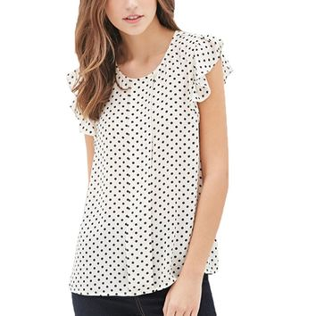 Summer Butterfly Sleeve Polka Dot Blouses Fashion O-Neck Women Chiffon Blouse White Black Color shirt