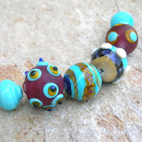Lampwork Beads Set, Large Textured Beads, Handmade Lampwork Jewelry Supplies with Dots