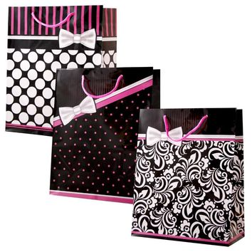 Large Pretty in Pink Gift Bags (Gloss) - CASE OF 24