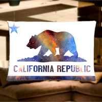 "California State Flag Galaxy, Bear Pillow Case Cover Bedding 30"" x 20"" Great Gift"