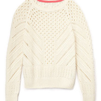 FOREVER 21 GIRLS Boho Knit Sweater (Kids) Cream Small