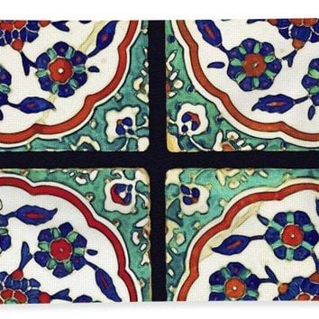 An Ottoman Iznik Style Floral Design Pottery Polychrome, By Adam Asar, No 14b - Bath Towel