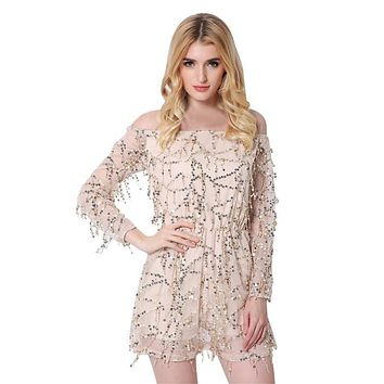 Women's Sexy Off Shoulder Gauze Tassel Halter Romper Playsuits Sequined Decoration Clothing