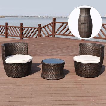 3 PCS Patio Rattan Stackable Furniture Set Chair Coffee Table Cushioned Outdoor