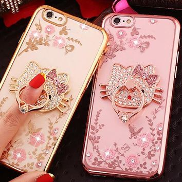 New Luxury Secret Garden Flowers Rhinestone Cell Phone Cases For iphone 7 Plus 6 6S 5 Huawei P10 P9 P8 Lite Plating Ring Cover