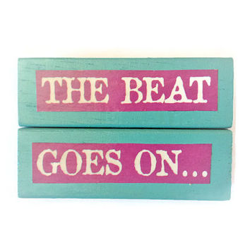 The Beat Goes On fridge magnets AQUA BLUE Recycled Gift Idea Unique Home Decor