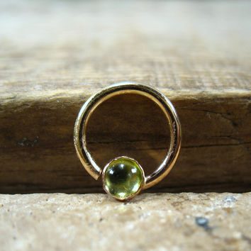 Septum & Nipple Ring Gold Peridot Gemstone