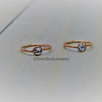 Rose gold nose hoop 3mm clear gemstone easy bend seam ring cartilage earring 20g