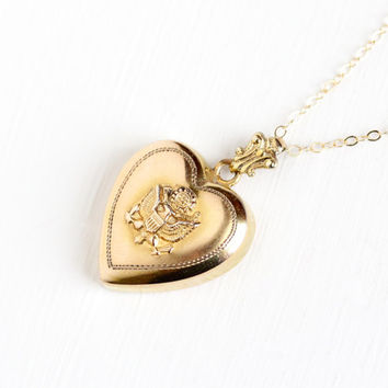 Vintage 10k Rosy Yellow Gold Filled US Seal Puffy Heart Pendant Necklace - WWII Repousse Eagle Great Seal of the United States Jewelry