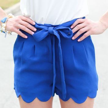 Scalloped To The Max Shorts - Royal Blue