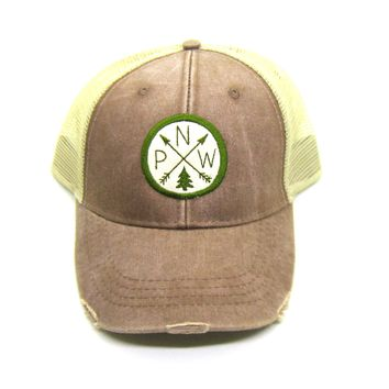 Pacific Northwest Trucker Hat - Mud Brown Distressed Snapback - PNW Arrow Compass