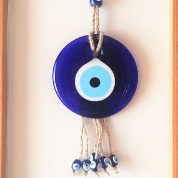 Evil eye wall hanging - evil eye charm - Turkish evil eye -evil eye décor - nazar boncuk - evil eye bead - macrame wall hanging