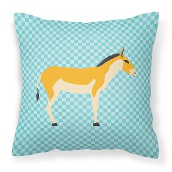 Turkmenian Kulan Donkey Blue Check Fabric Decorative Pillow BB8028PW1414