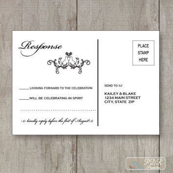Printable Boho Chic RSVP Postcard - Wedding Reply Card