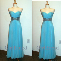 Sweetheart elegant blue chiffon handmade floor-length beaded lady prom dress, graduation dress, party dress with sequins
