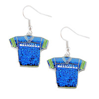 Seattle Seahawks Women's Glitter Jersey Earrings