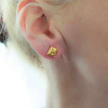 Gold Stud Earrings, Square Stud Earrings, Square Studs, Gold Studs, Gold Post Earrings, Minimalist Earrings, Post Earring, Geometric Jewelry
