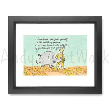 purple elephant mantra self discovery quote watercolor illustration painting