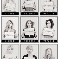 "Wedding Ideas / ""Morning After"" mugshots of the bridal party"