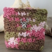 Camo Pink Reusable Coffee or Tea To Go Cup Mug Cozy Sleeve w/ Deer Charm