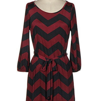 Lila Chevron Print Dress - Wine and Black