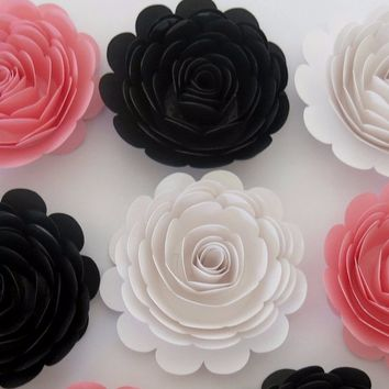 "6 Pink Black and White Roses, large 3"" paper flowers, Girly decor, Teen bedroom wall decor, Wedding decorations, Bridal shower gift idea"