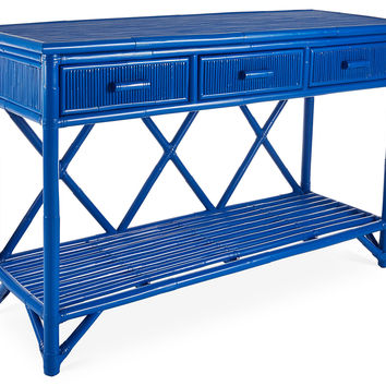 "Pencil Rattan 54"" Console, Blue, Console Table"