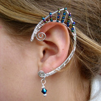 Pair of Aluminum Elven Ear Cuffs with Iridescent Peacock colored mini seed beads and Cobalt Blue Swarovski Crystals