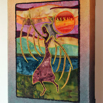 Native American Fancy Shawl Dancer, art quilt on canvas, home decor