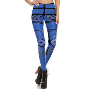 Futuristic Blue Armor Leggings