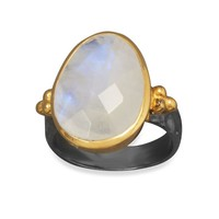 Moonstone Two Tone Gunmetal Ring