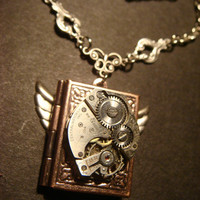 Steampunk Neo Victorian Watch Movement LOCKET Necklace with Wings (686)