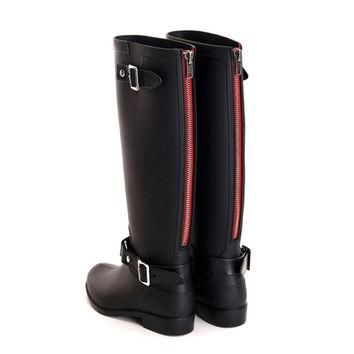 Punk style zipper tall boots women's pure color rain boots outdoor rubber water shoes