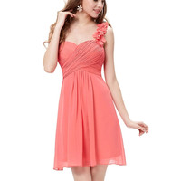 Watermelon Red One-Shoulder Empire Homecoming Chiffon Dress