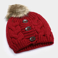 Women's Burgundy 3 Triple Button Cable Knit Fur Pom Pom Beanie Cap Hat