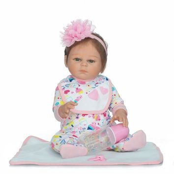 "New Full Silicone Reborn Dolls in Pink Clothes 20"" Lifelike Newborn Girl Baby Doll Reborn for Kids Bath Shower Bedtime Play Toy"