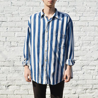 Oversized Nautical Stripe Button Down Shirt