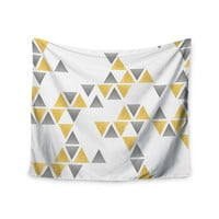 "NL designs ""Silver And Gold Triangles"" Gray Abstract Wall Tapestry"