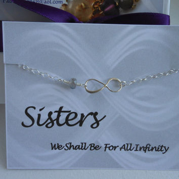SISTERS, Infinity Bracelet, Sisters For Infinity,Silver Infinity Bracelet, Birthstone Bracelet, Sisters Gift