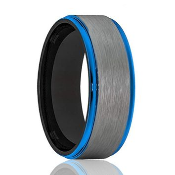 KNIGHT Men's Tungsten Wedding Band with Blue Step Edges & Gray Brushed Center