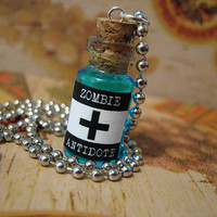 Zombie Antidote 1ml Glass Bottle Glass Vial Pendant Necklace - 7 Colors - Charm Potion Zombies Antivirus Virus