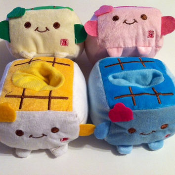 Kawaii Plush TOFU Phone Holder Blue by WhatsYourCrayon on Etsy