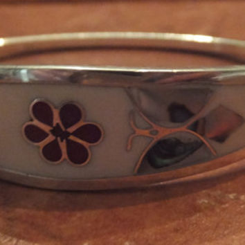 Vintage Alpaca Silver White Bracelet Abalone Butterfly Mexican Jewelry