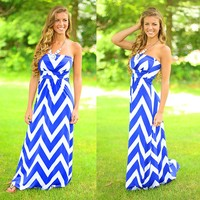 Chevron Chic Maxi Dress in Royal Blue