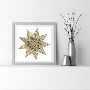 Abstract Art Particle Star flower_9ah Limited edition Fine Art Giclee print, by San Francisco artist Kristin Henry. Chemistry inspired geeky